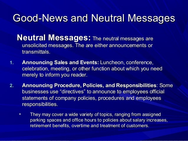 Directness in good news and neutral messages
