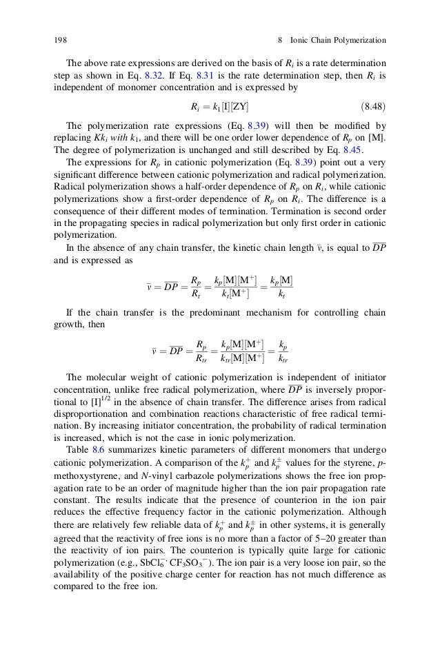 Chapter 8 ionic chain polymerization