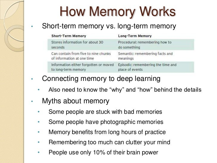 an analysis of the importance of short term memory Ences in the degree of retroactive interference generated by long and short words is proposed the short term is an important and intriguing in long-term memory again, an alternative interpretation is possible in which the disappear- ance of the length effect under suppression is not attributed to the prevention of.
