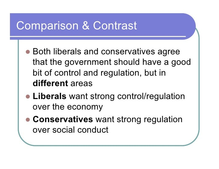 Compare and contrast liberal and conservative polital ideologies