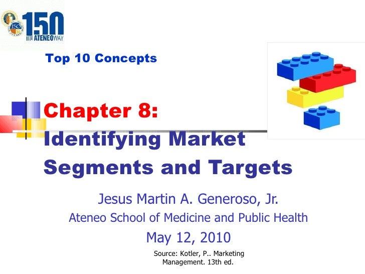 Chapter 8:  Identifying Market Segments and Targets Jesus Martin A. Generoso, Jr. Ateneo School of Medicine and Public Hea...