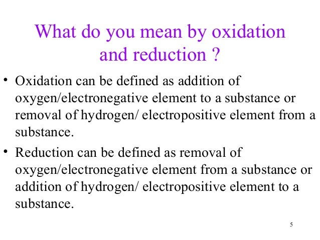 a term paper on oxidation and reduction reaction Redox reactions are reactions in which one species is reduced and another is oxidized therefore the oxidation state of the species involved must change.