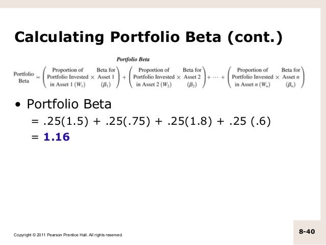 how to calculate beta To calculate the beta of a portfolio, you need to first calculate the beta of each stock in the portfolio then you take the weighted average of betas of all stocks.