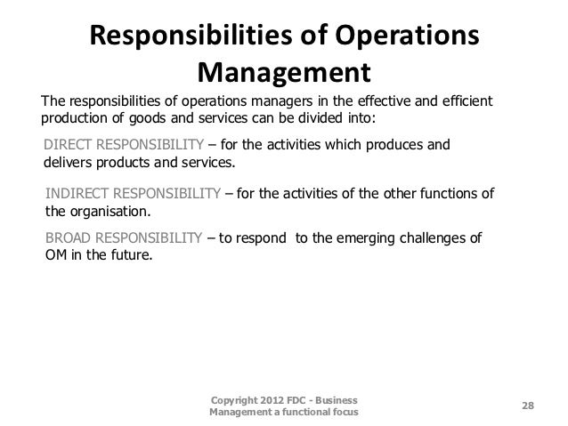 Responsibilities Of Operations Managementthe Responsibilities Of Operations  Managers