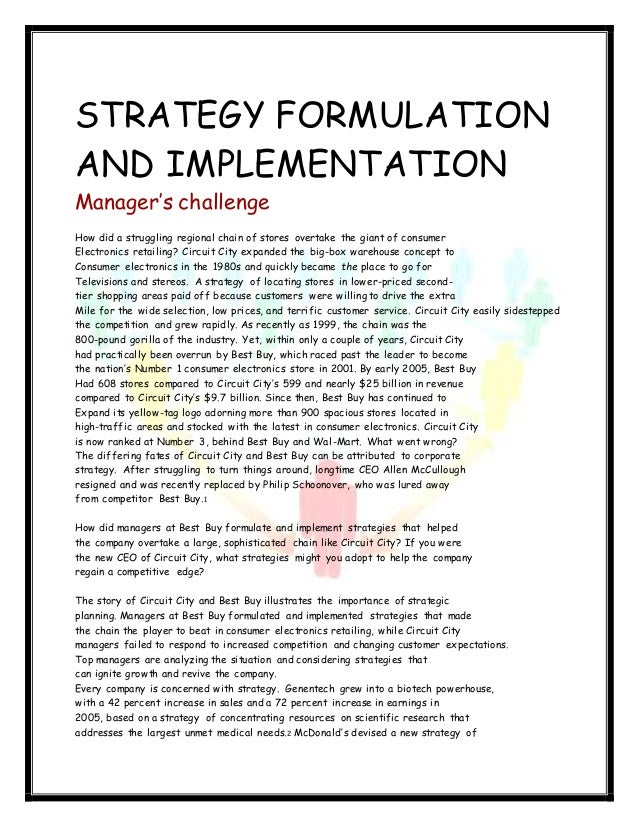 strategy formulation essay Process (sq2)what practices can be used to involve employees in the strategy  formulation phase of the strategy process (sq3)what practices.