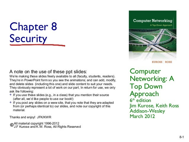 Chapter 8 Security A note on the use of these ppt slides: We're making these slides freely available to all (faculty, stud...