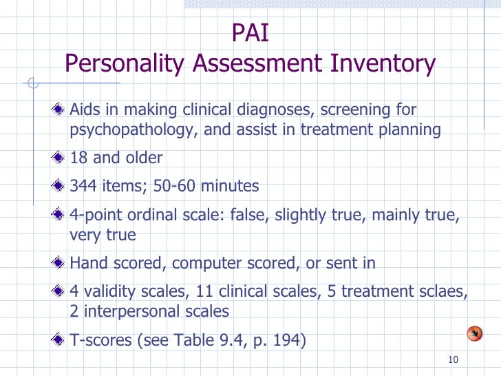 personality assessment inventory Personality assessment inventory™ (pai®) leslie c morey, phd overview • provides an objective, multiscale inventory of adult personality • manual includes an expanded discussion of administration.