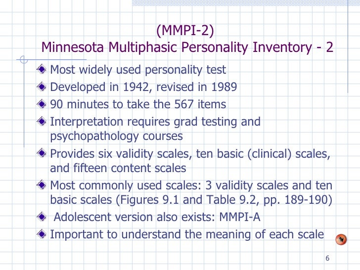 the minnesota multiphasic personality inventory essay The purpose of the minnesota multiphasic personality inventory is to assess characteristics that reflect an individual's personal and social maladjustment the mmpi-2 has several scales 4 validity scales and 10 clinical scales the 4 validity scales are.