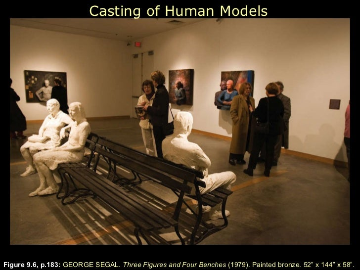 """Figure 9.6, p.183 :  GEORGE SEGAL.  Three Figures and Four Benches  (1979). Painted bronze. 52 """" x  144 """" x  58 """" . Castin..."""