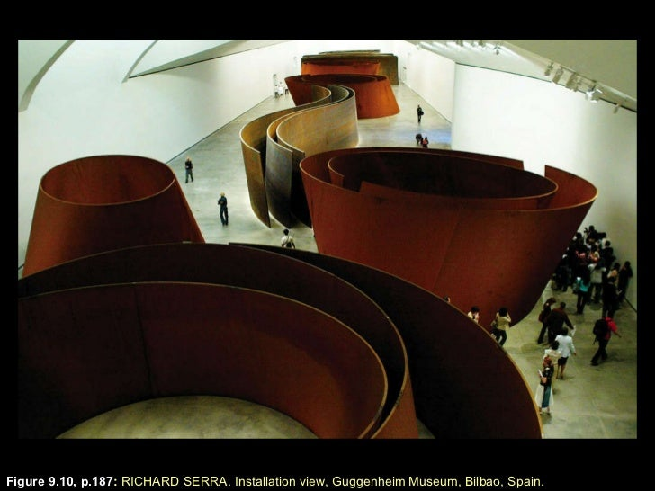 Figure 9.10, p.187 :  RICHARD SERRA. Installation view, Guggenheim Museum, Bilbao, Spain.