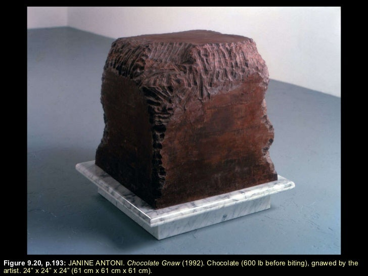 """Figure 9.20, p.193 :  JANINE ANTONI.  Chocolate Gnaw  (1992). Chocolate (600 lb before biting), gnawed by the artist. 24 """"..."""