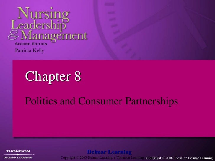 Chapter 8 Politics and Consumer Partnerships  Delmar Learning Copyright  © 2003 Delmar Learning, a Thomson Learning company