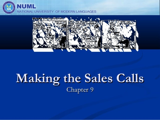Making the Sales Calls        Chapter 9