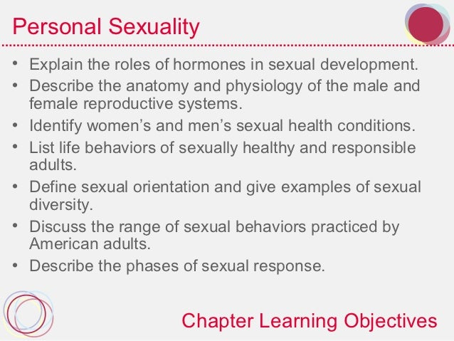 Personal Sexuality• Explain the roles of hormones in sexual development.• Describe the anatomy and physiology of the male ...