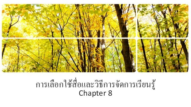การเลือกใช้สื่อและวิธีการจัดการเรียนรู้ Chapter 8