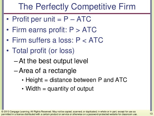 The Perfectly Competitive Firm • Profit per unit = P – ATC • Firm earns profit: P > ATC • Firm suffers a loss: P < ATC • T...