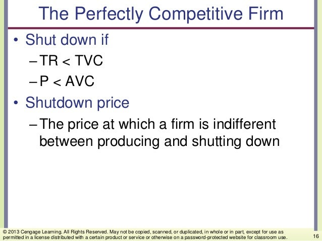 The Perfectly Competitive Firm • Shut down if –TR < TVC –P < AVC • Shutdown price –The price at which a firm is indifferen...