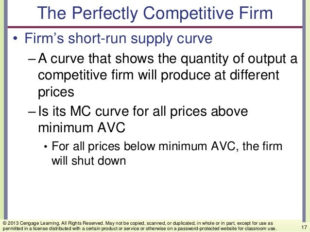 The Perfectly Competitive Firm • Firm's short-run supply curve –A curve that shows the quantity of output a competitive fi...