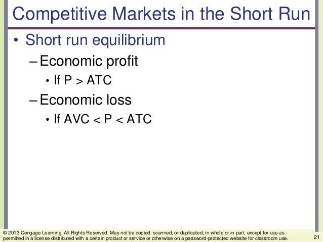 Competitive Markets in the Short Run • Short run equilibrium –Economic profit • If P > ATC –Economic loss • If AVC < P < A...