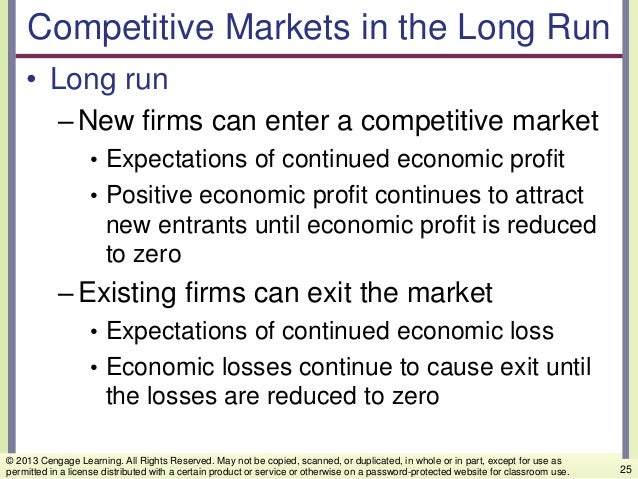 Competitive Markets in the Long Run • Long run –New firms can enter a competitive market • Expectations of continued econo...