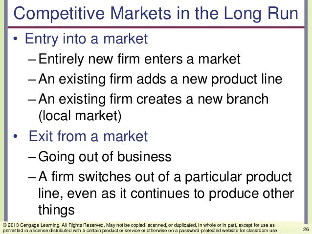 Competitive Markets in the Long Run • Entry into a market –Entirely new firm enters a market –An existing firm adds a new ...