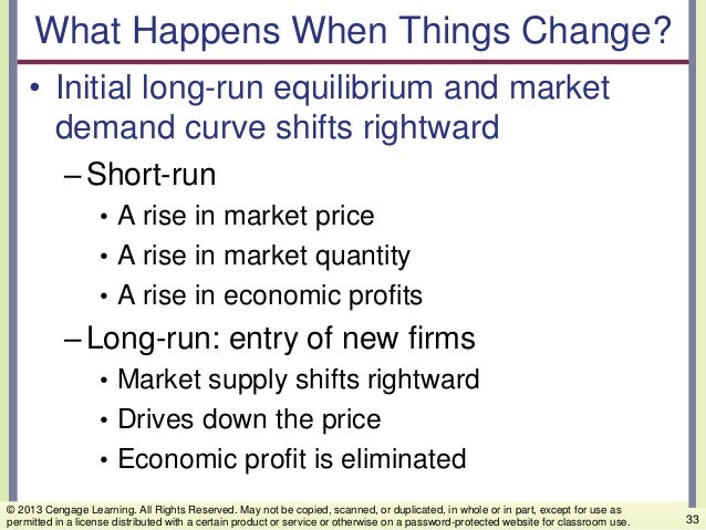 What Happens When Things Change? • Initial long-run equilibrium and market demand curve shifts rightward –Short-run • A ri...