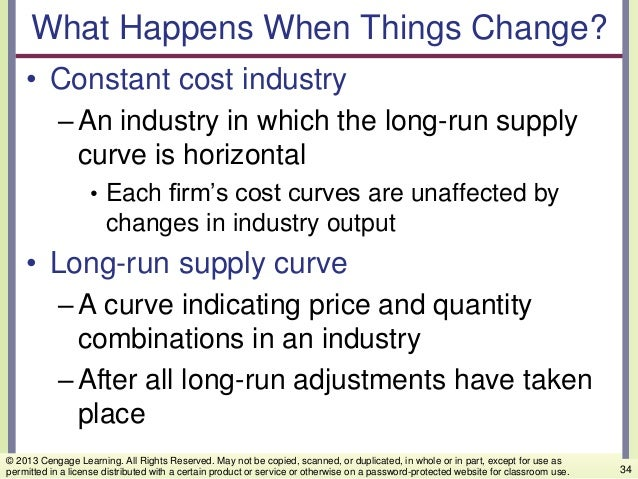 What Happens When Things Change? • Constant cost industry –An industry in which the long-run supply curve is horizontal • ...