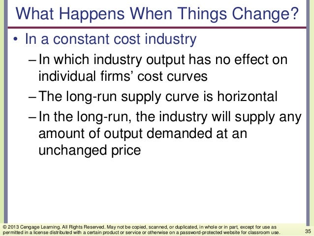 What Happens When Things Change? • In a constant cost industry –In which industry output has no effect on individual firms...