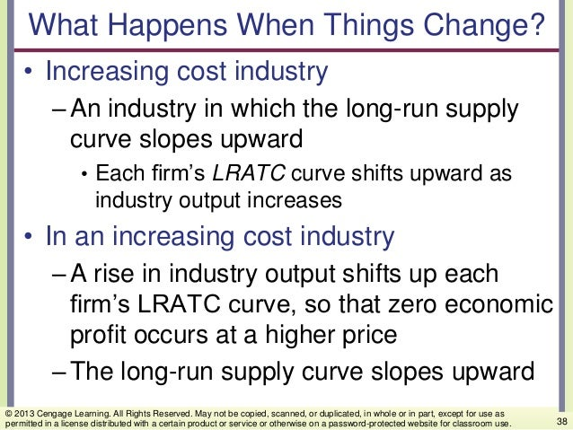 What Happens When Things Change? • Increasing cost industry –An industry in which the long-run supply curve slopes upward ...