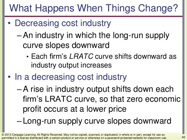 What Happens When Things Change? • Decreasing cost industry –An industry in which the long-run supply curve slopes downwar...