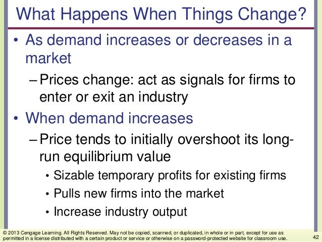 What Happens When Things Change? • As demand increases or decreases in a market –Prices change: act as signals for firms t...
