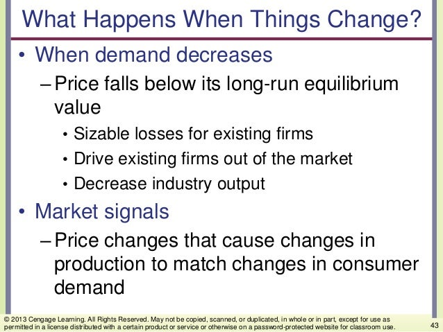 What Happens When Things Change? • When demand decreases –Price falls below its long-run equilibrium value • Sizable losse...