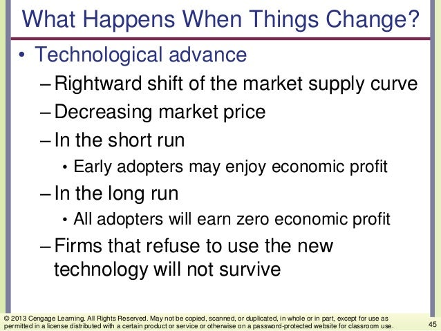 What Happens When Things Change? • Technological advance –Rightward shift of the market supply curve –Decreasing market pr...