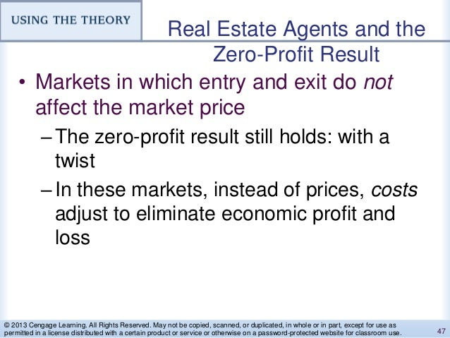 Real Estate Agents and the Zero-Profit Result • Markets in which entry and exit do not affect the market price –The zero-p...