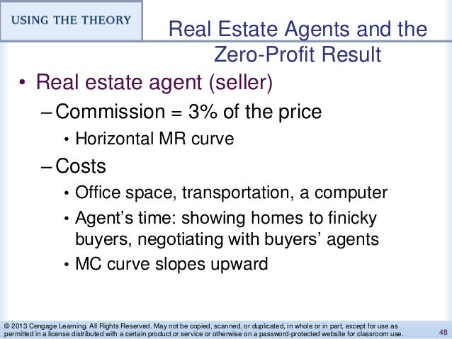 Real Estate Agents and the Zero-Profit Result • Real estate agent (seller) –Commission = 3% of the price • Horizontal MR c...