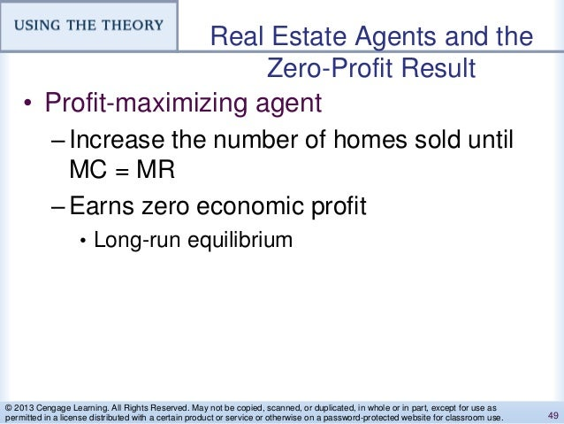 Real Estate Agents and the Zero-Profit Result • Profit-maximizing agent –Increase the number of homes sold until MC = MR –...