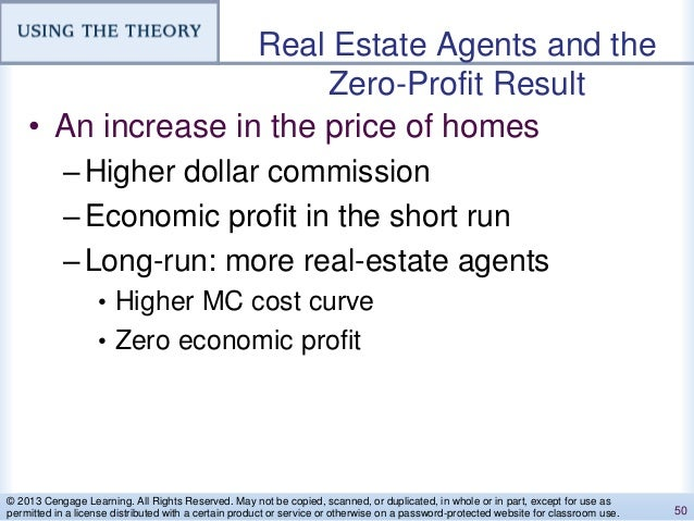 Real Estate Agents and the Zero-Profit Result • An increase in the price of homes –Higher dollar commission –Economic prof...
