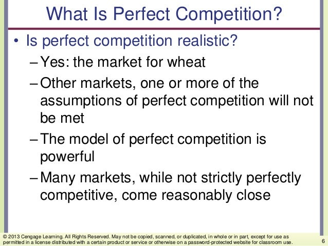 What Is Perfect Competition? • Is perfect competition realistic? –Yes: the market for wheat –Other markets, one or more of...