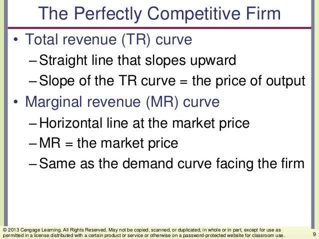 The Perfectly Competitive Firm • Total revenue (TR) curve –Straight line that slopes upward –Slope of the TR curve = the p...