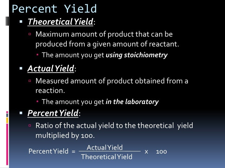 Chapter 9.3 : Limiting Reactants and Percent Yield