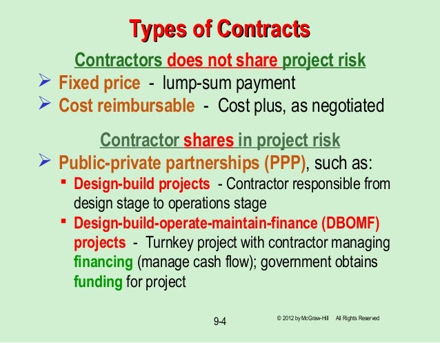 Chapter 9 benefit cost analysis politically inclined economic 4 types of contractstypes of contracts contractors does not share project risk fixed price lump sum fandeluxe Image collections