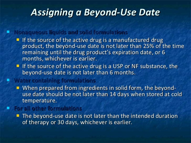 beyond use dating for oral liquids