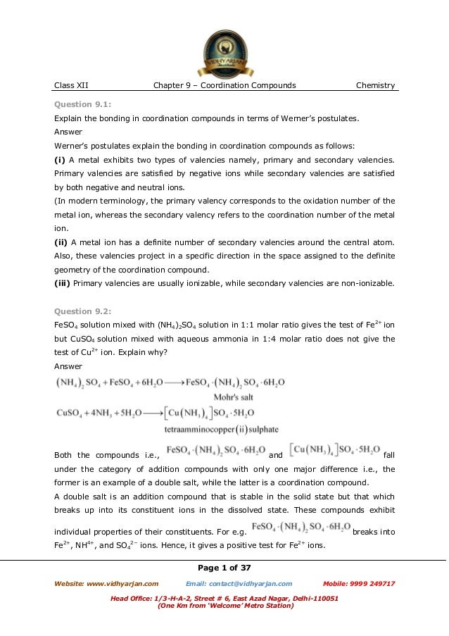 Class XII  Chapter 9 – Coordination Compounds  Chemistry  Question 9.1: Explain the bonding in coordination compounds in t...