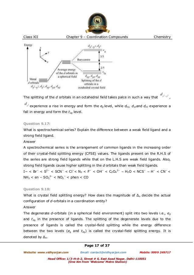 Chapter 9 Coordination Compounds