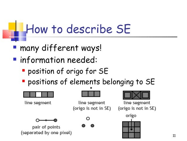 How to describe SE many different ways! information needed: position of origo for SE positions of elements belonging t...