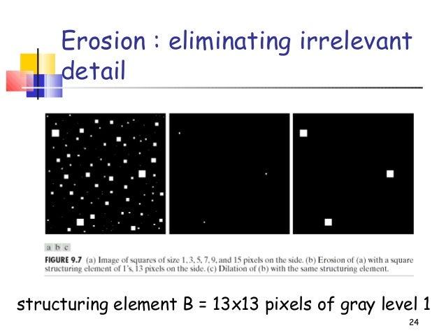 24Erosion : eliminating irrelevantdetailstructuring element B = 13x13 pixels of gray level 1