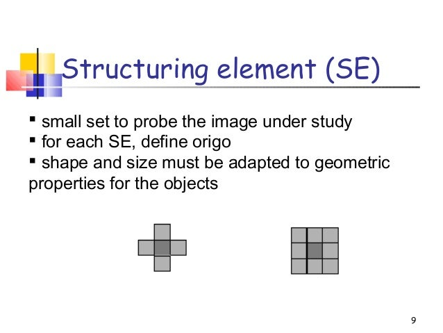 Structuring element (SE)9 small set to probe the image under study for each SE, define origo shape and size must be ada...