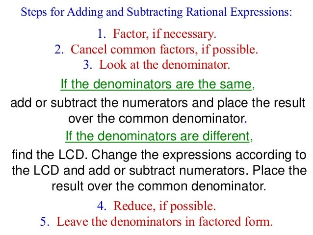 Chapter 9 - Rational Expressions