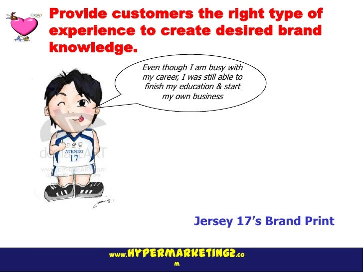 Provide customers the right type ofexperience to create desired brandknowledge.              Even though I am busy with   ...