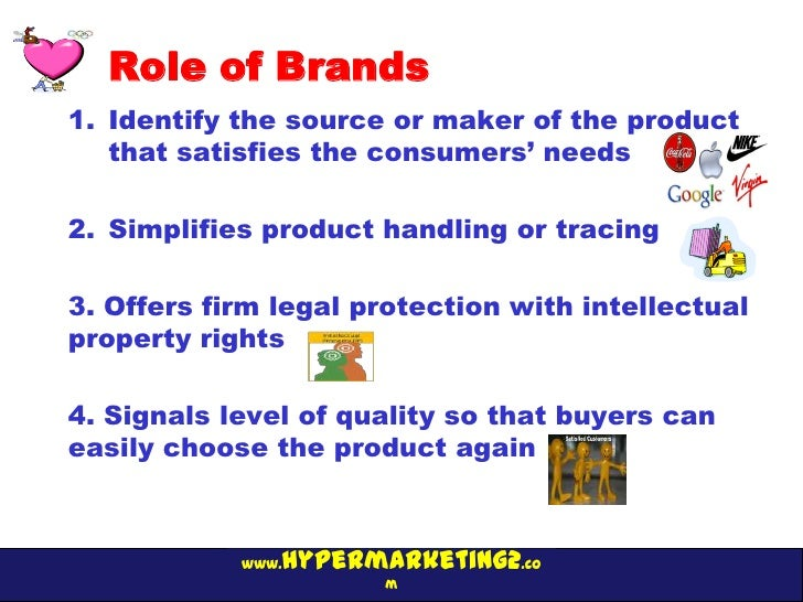 Role of Brands1. Identify the source or maker of the product   that satisfies the consumers' needs2. Simplifies product ha...